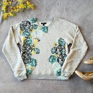 J. Crew Grey Vibrant Floral Sweater Sweatshirt Top